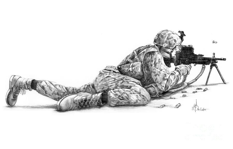 Machine Gunner Drawing By Murphy Elliott