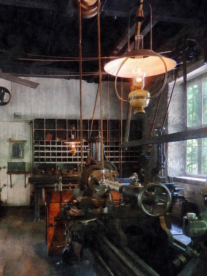 Machine Shop With Lantern Photograph  - Machine Shop With Lantern Fine Art Print