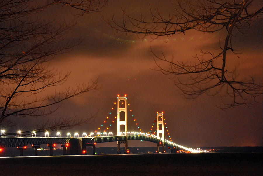 Mackinac Bridge At Night Photograph