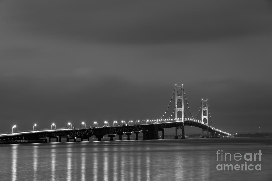 Mackinac Bridge Black And White Photograph  - Mackinac Bridge Black And White Fine Art Print