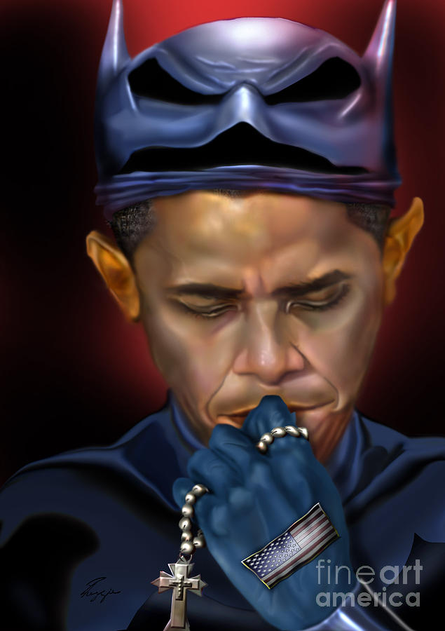 Mad Men Series 1 Of 6 - President Obama The Dark Knight Painting  - Mad Men Series 1 Of 6 - President Obama The Dark Knight Fine Art Print