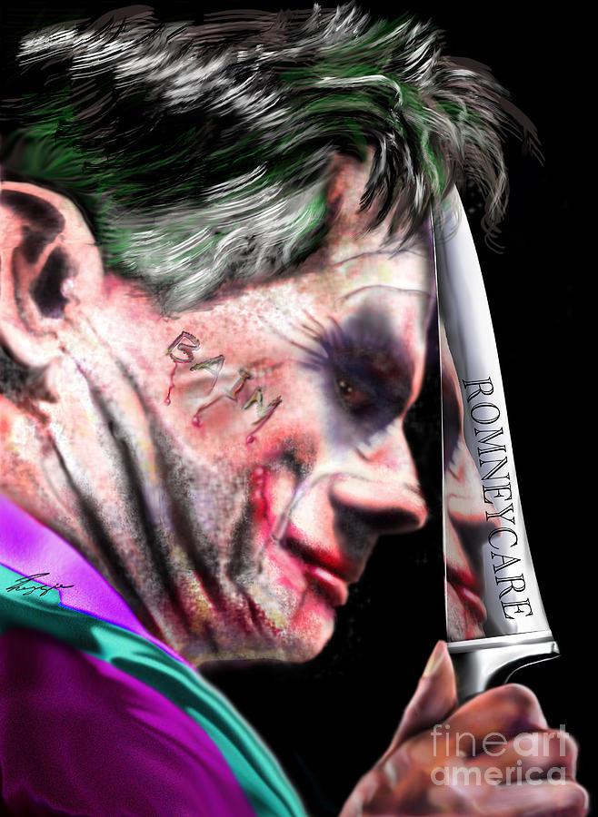 Mitt Romney Painting - Mad Men Series 2 Of 6 - Romney The Joker by Reggie Duffie