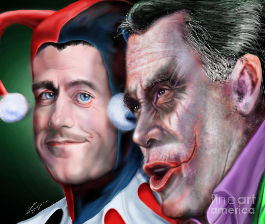Mad Men Series  4 Of 6 - Romney And Ryan Painting  - Mad Men Series  4 Of 6 - Romney And Ryan Fine Art Print