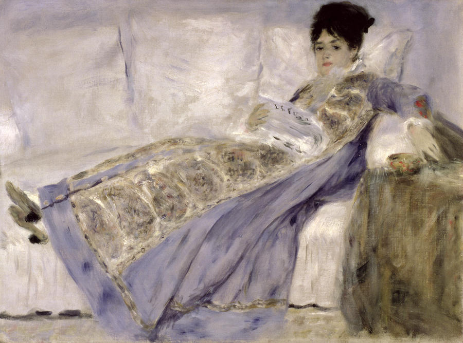 Madame Monet On A Sofa Painting