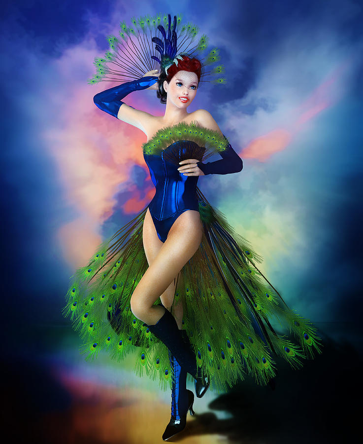 Madame Peacock Digital Art  - Madame Peacock Fine Art Print