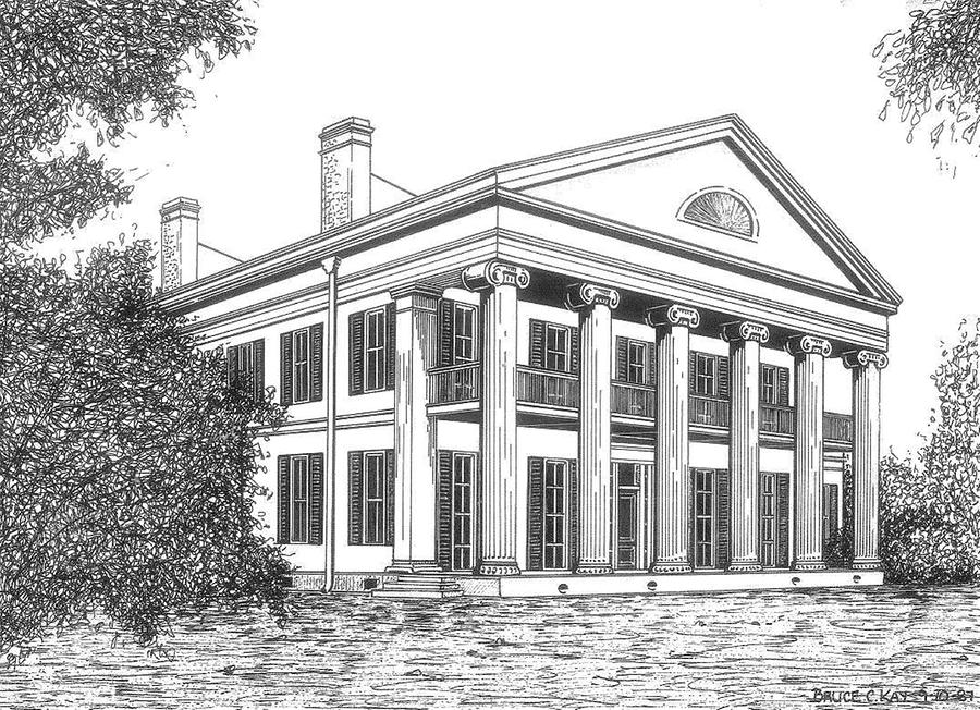 Madewood Plantation Drawing  - Madewood Plantation Fine Art Print