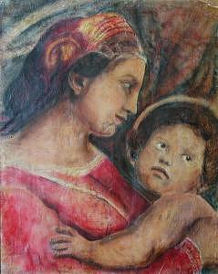 Madonna And Child   In Profile    Based On Work On By Raphael Painting