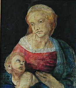 Madonna And Child  In Red And Blue  Based On Work On By Raphael Painting