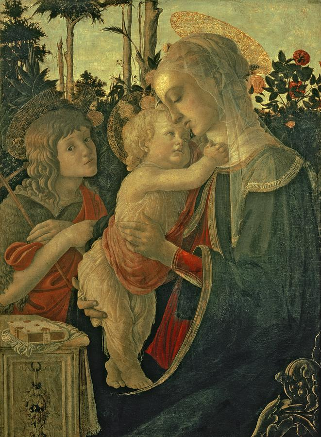 Madonna And Child With St. John The Baptist Painting  - Madonna And Child With St. John The Baptist Fine Art Print