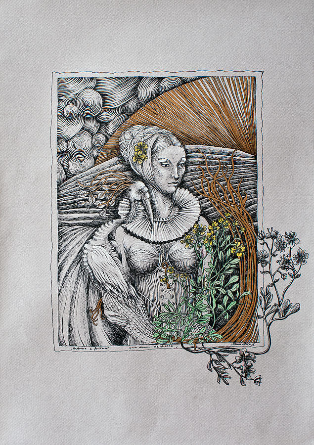 Woman Drawing - Madonna And Phoenix by Marzena Ablewska- Lech
