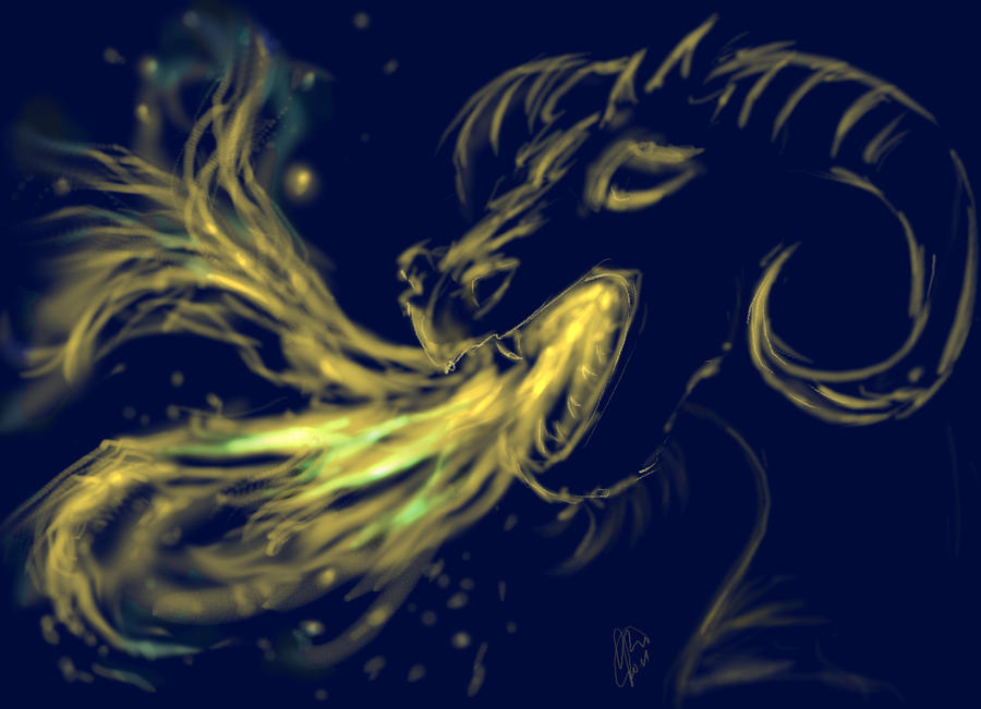 Black Blue Dark Dragon Yellow Horns Breath Magic Fire Flames Head Digital Art - Magic Dragon by Katerina Romanova
