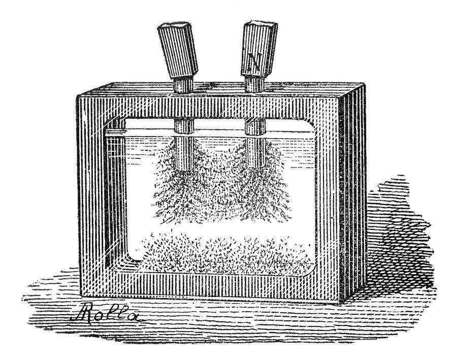 Magnetic Field Experiment, 19th Century Photograph