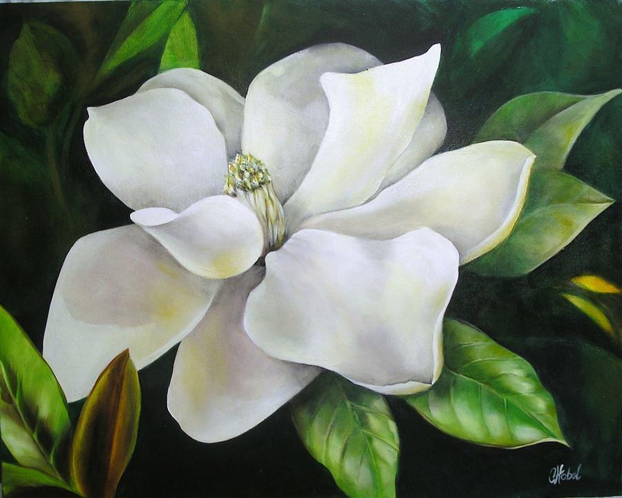 Magnolia Oil Painting by Chris Hobel