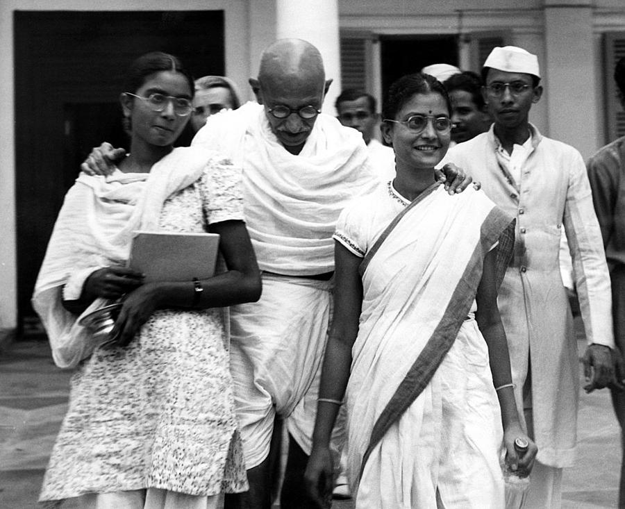 Mahatma Gandhi, At Age 70, With His Two Photograph