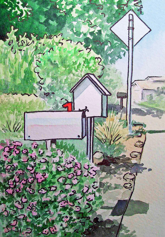 Mail Boxes Sketchbook Project Down My Street Painting  - Mail Boxes Sketchbook Project Down My Street Fine Art Print
