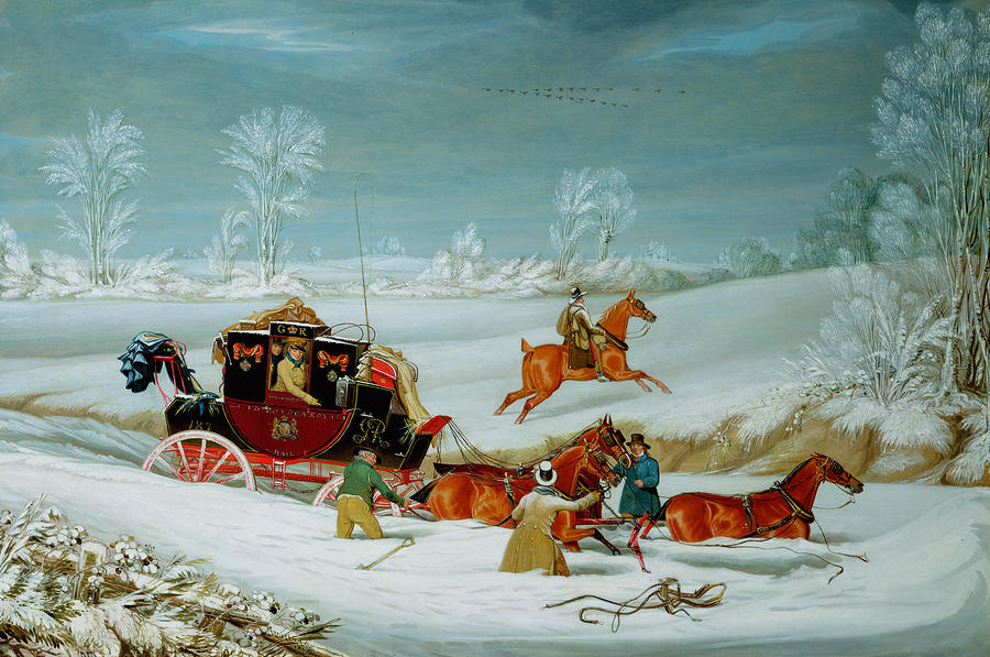 Mail Coach In The Snow Painting