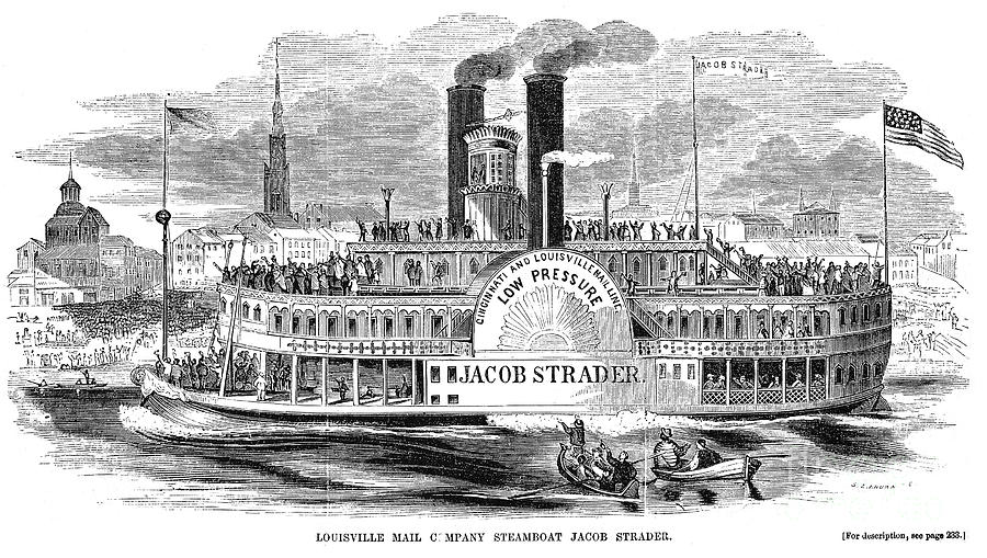 Mail Steamboat, 1854. /nthe Louisville Mail Company Steamboat Jacob Strader. Wood Engraving, 1854 Photograph