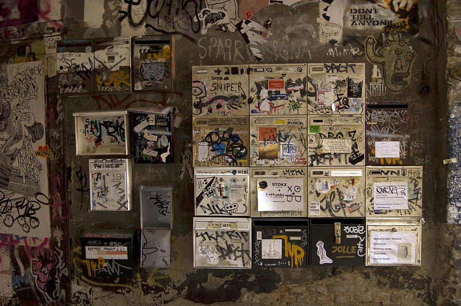 Mailboxes With Graffiti Photograph