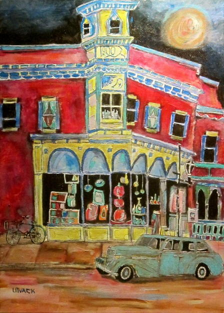 Granby Quebec Painting - Main Street 1940s by Michael Litvack