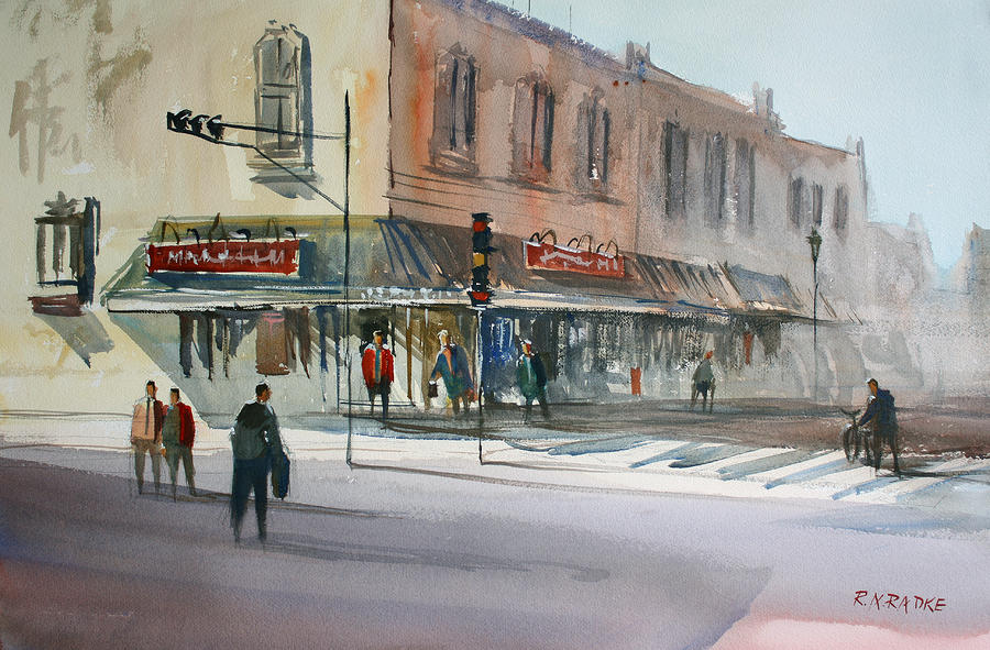 Main Street Marketplace - Waupaca Painting  - Main Street Marketplace - Waupaca Fine Art Print