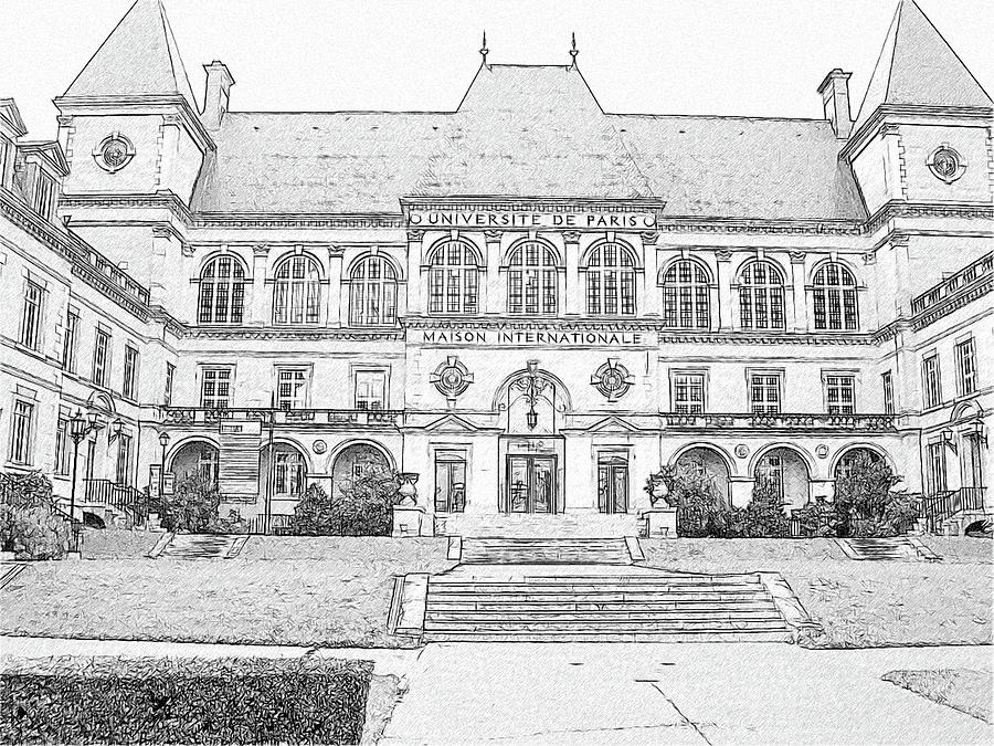 Maison Internationale Paris Drawing  - Maison Internationale Paris Fine Art Print