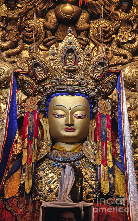 Craig Lovell Photograph - Maitreya Statue - Jokhang Temple Tibet by Craig Lovell