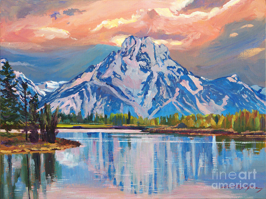 Landscape Painting - Majestic Blue Mountain Reflections by David Lloyd Glover