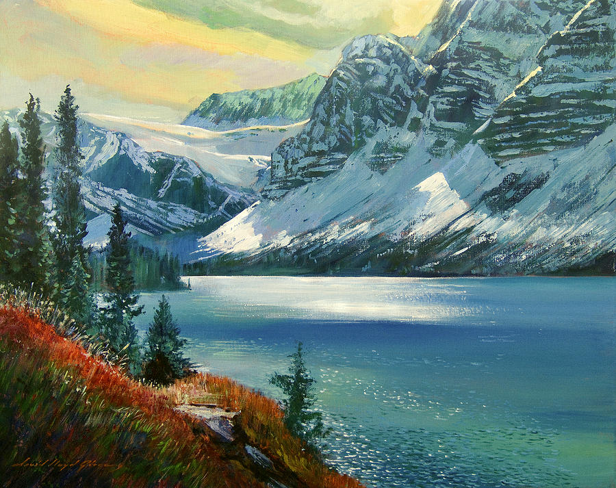 Majestic Bow River Painting  - Majestic Bow River Fine Art Print