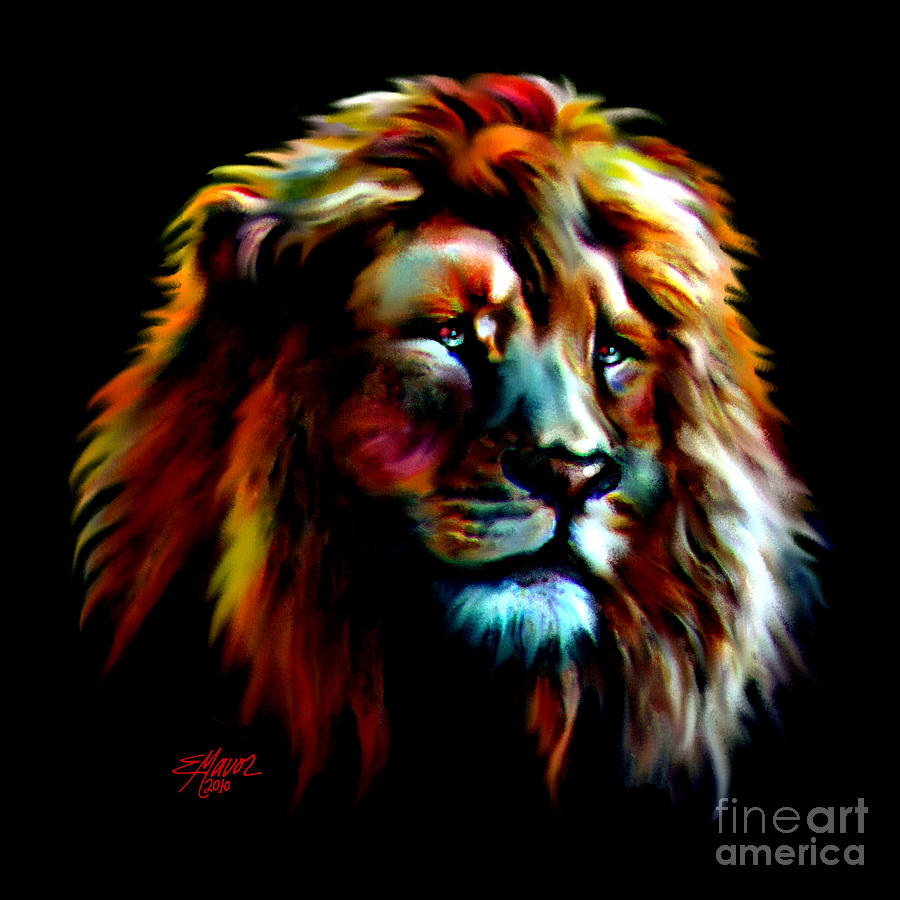 Majestic Lion Painting Colorful Lion Paintings
