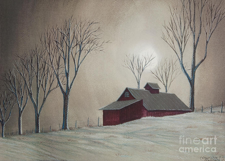 Majestic Winter Night Painting  - Majestic Winter Night Fine Art Print