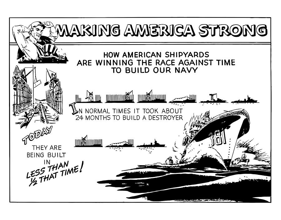 Making America Strong Ww2 Cartoon Drawing  - Making America Strong Ww2 Cartoon Fine Art Print