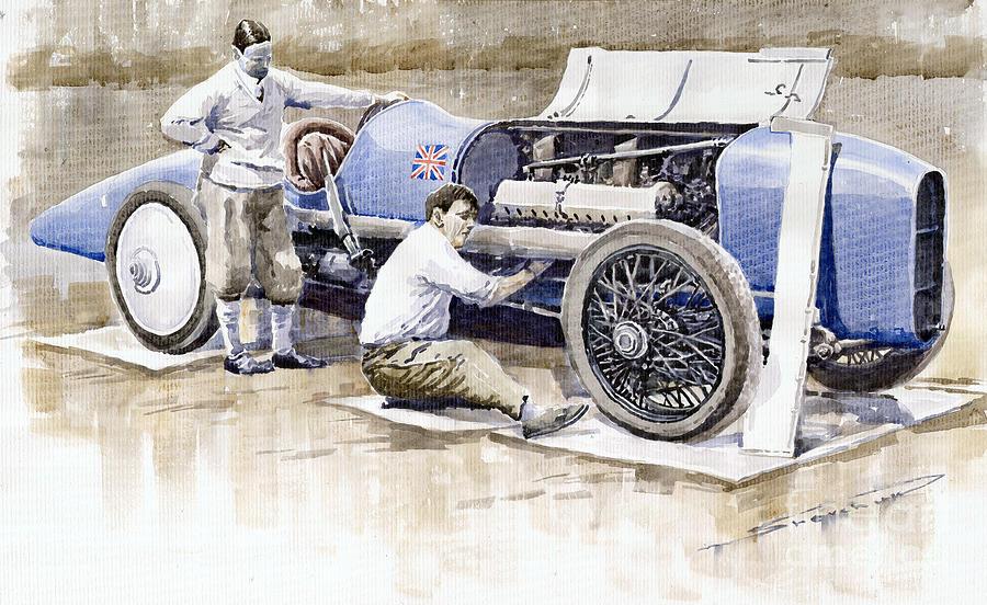 Watercolor Painting - Malcolm Campbell Sunbeam Bluebird 1924 by Yuriy  Shevchuk