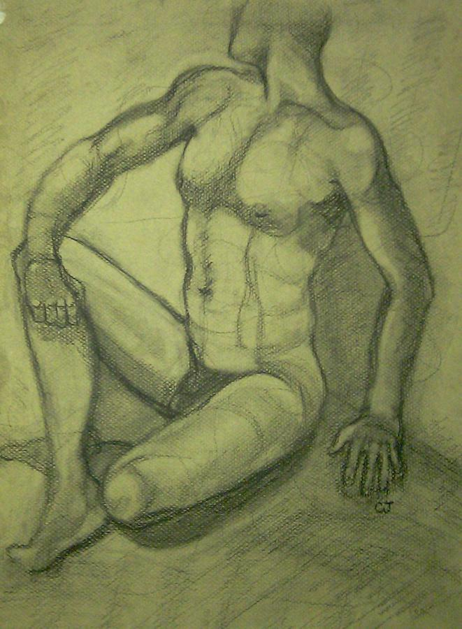 Male Nude Drawing  - Male Nude Fine Art Print