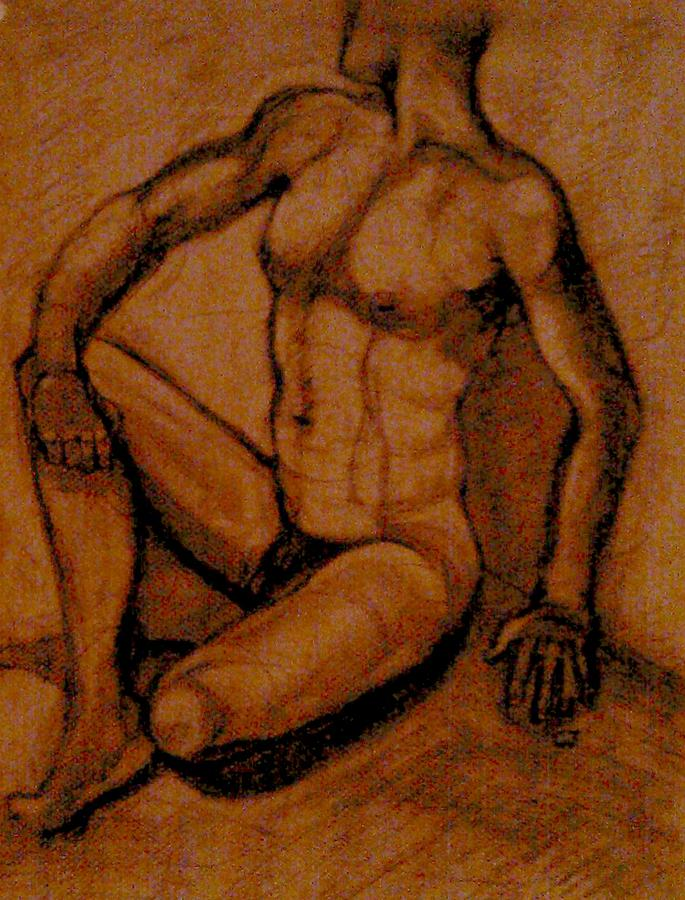 Male Nude Rust Drawing  - Male Nude Rust Fine Art Print