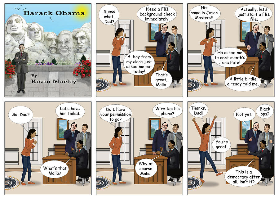 Barack  Obama Digital Art - Malia Going On Her First Date by Kevin  Marley