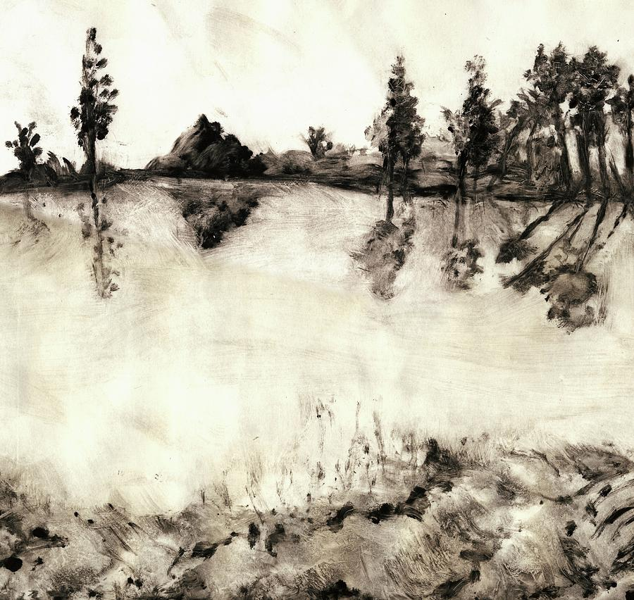 Malibu Lake Mono Print Mixed Media  - Malibu Lake Mono Print Fine Art Print