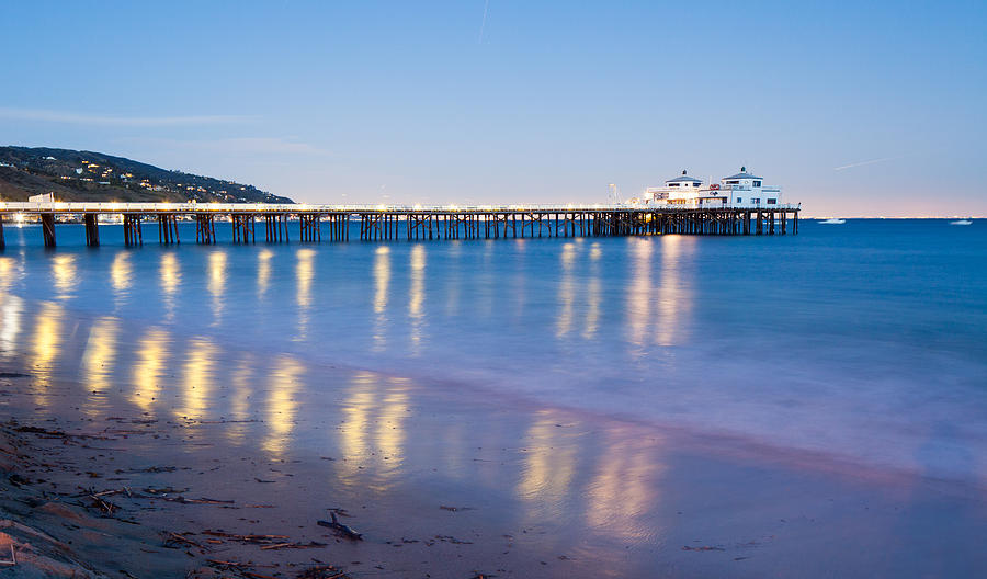 Sea Photograph - Malibu Pier Reflections by Adam Pender