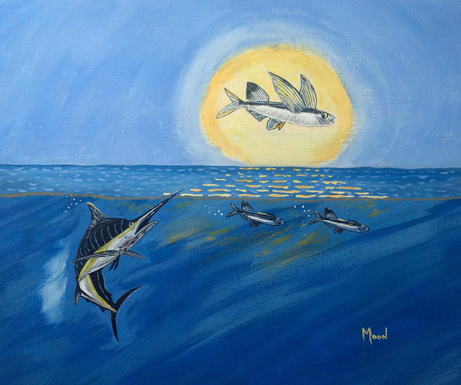 Ma 39 lolo flying fish painting by john moon for Flying fish images
