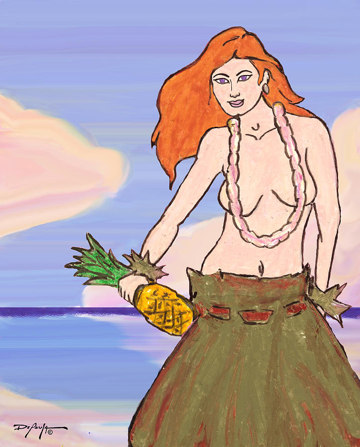 Hula Girl Pastel - Maluhia Hula Girl by William Depaula