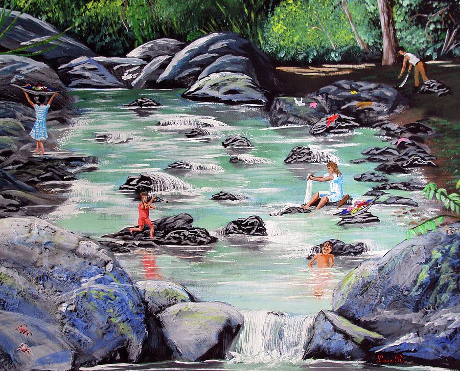 Mami Lavando Ropa Painting