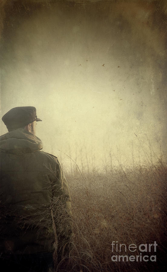 Caucasian Photograph - Man Alone In Autumn Field by Sandra Cunningham