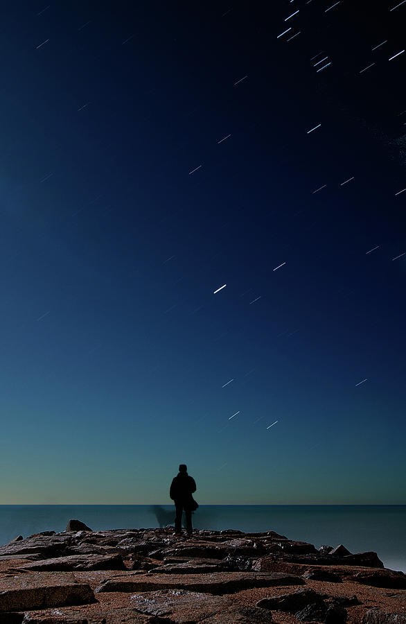 Man And Dog Watching Stars At Night Photograph  - Man And Dog Watching Stars At Night Fine Art Print