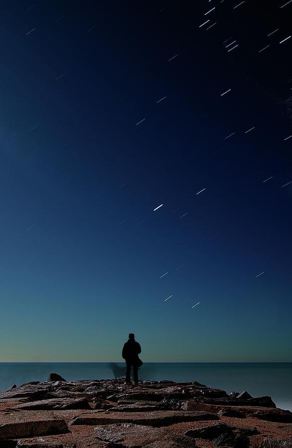 Man And Dog Watching Stars At Night Photograph