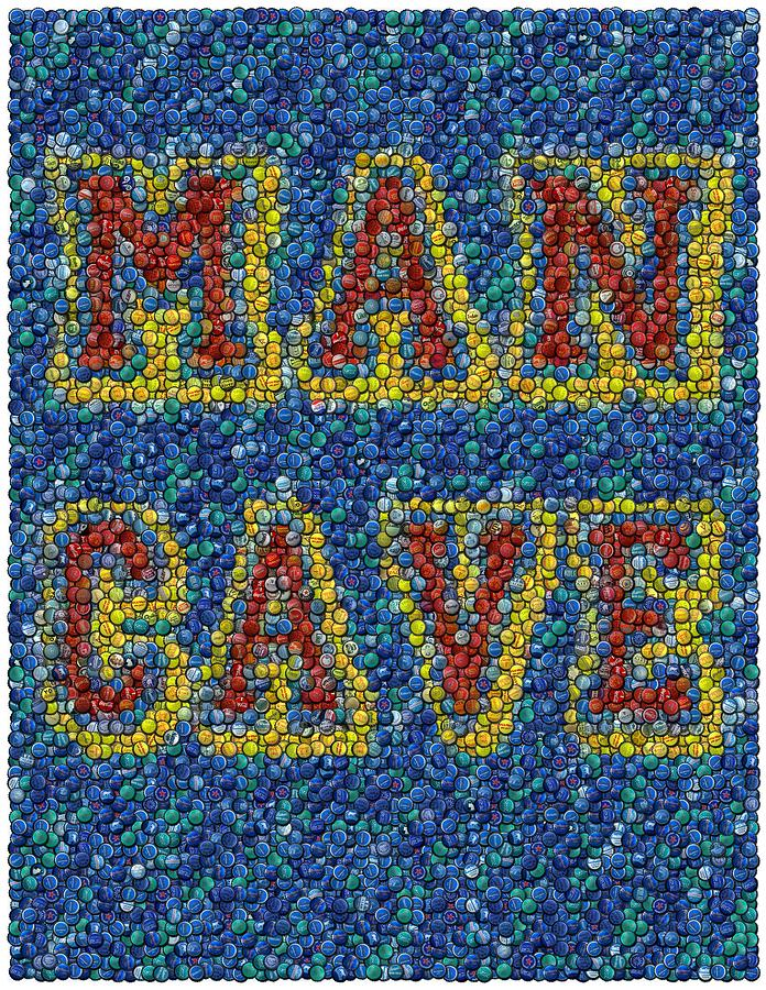 Man Cave Bottle Cap Mosaic Mixed Media