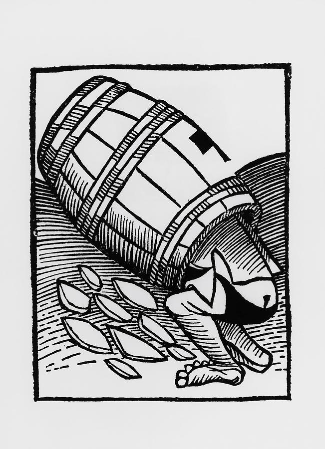 Man Collecting Tartar From A Empty Wine Barrel Photograph