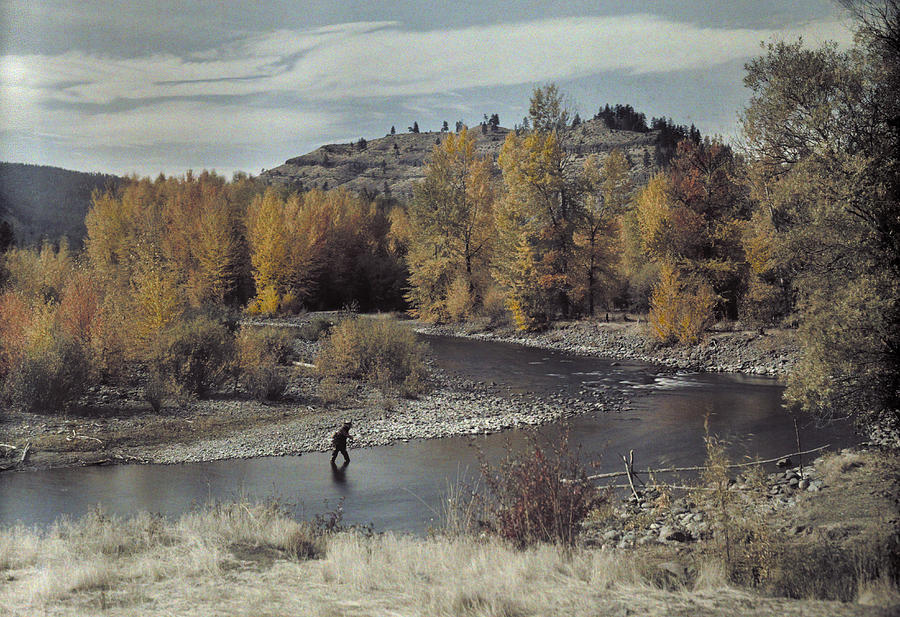 Outdoors Photograph - Man Fishes For Trout In The Naches by Clifton R Adams