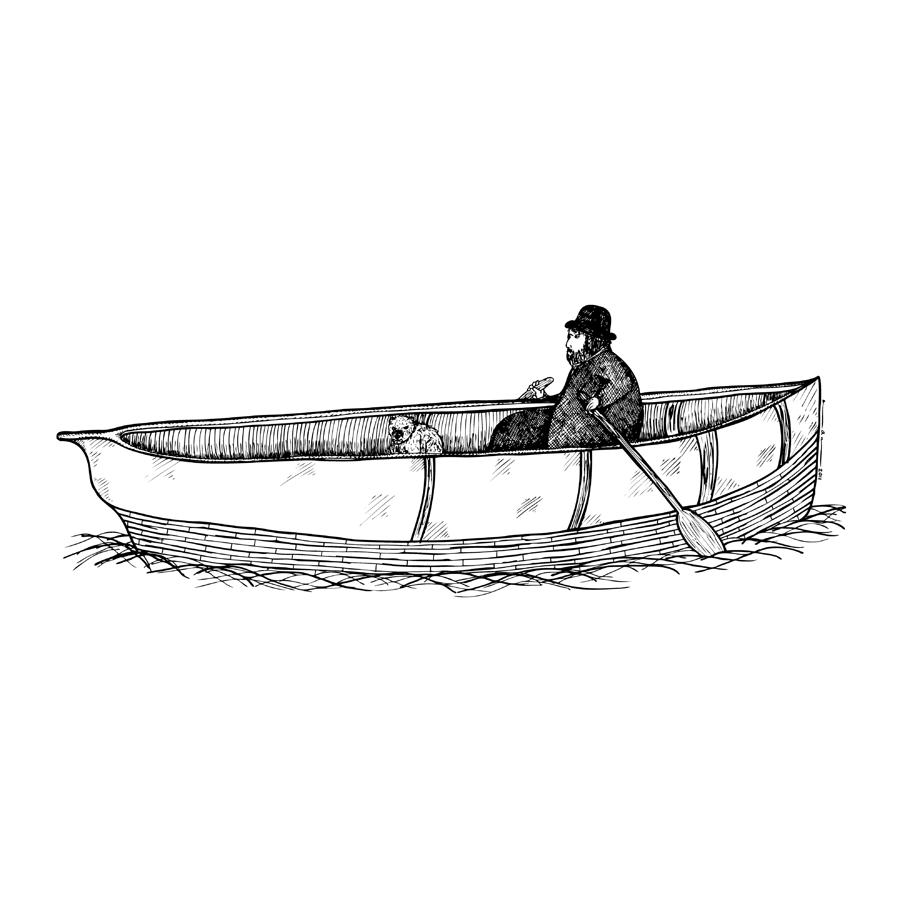 Man in a boat with his dog drawing