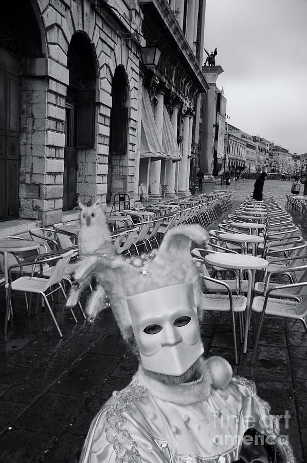 Man In Mask In Venice Black White Photograph