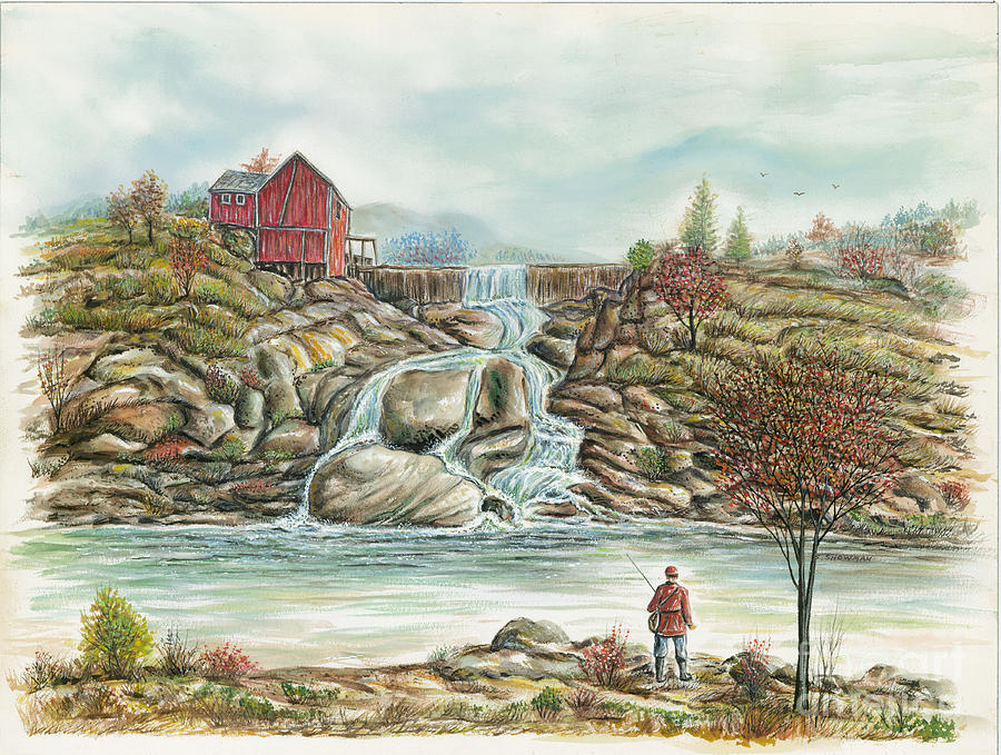 Man In Red Fishing By A Waterfall Painting  - Man In Red Fishing By A Waterfall Fine Art Print