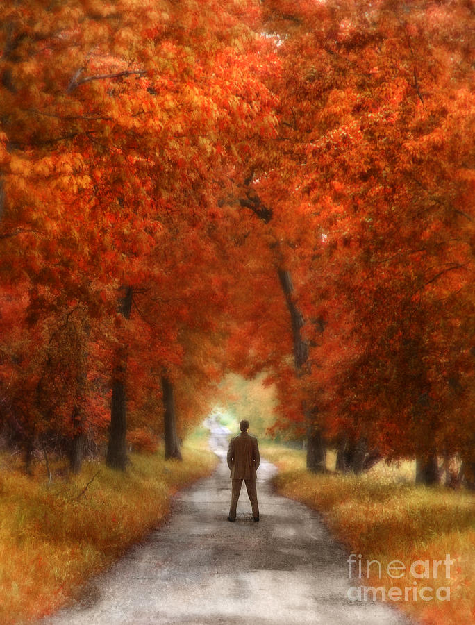 Man In Suit On Rural Road In Autumn Photograph